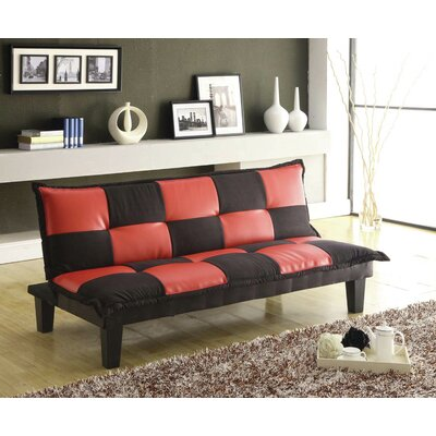 Convertible Sofa Upholstery: Black/Red