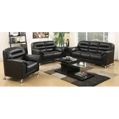 Yellowhammer 3 Piece Living Room Set Upholstery: Black