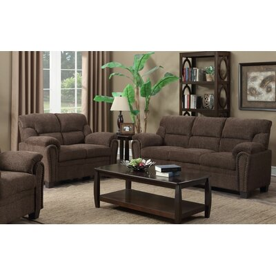 Judlaph 2 Piece Wood Frame Living Room Set Upholstery: Brown