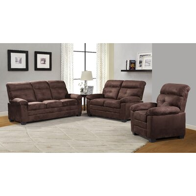 Judlaph 3 Piece Living Room Set Upholstery: Brown