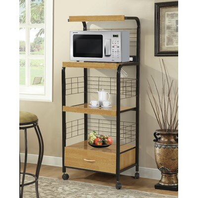 Microwave Cart with Wood Top Base Finish: Black