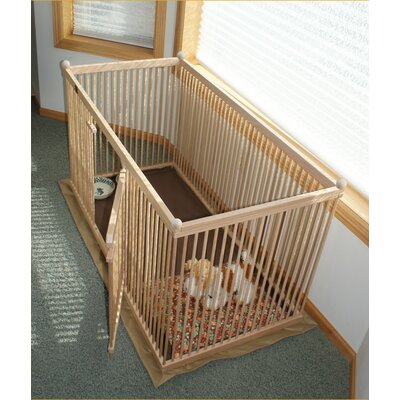 26 Red Oak Pet Pen Color: Clear, Hinge: Rightt, Panel: Short