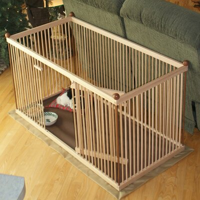 26 Maple Pet Pen Color: Medium Brown, Hinge: Right, Panel: Long