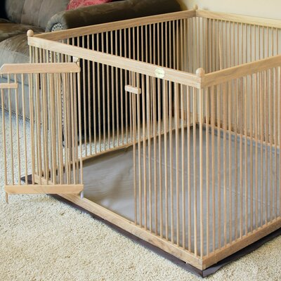 24 Red Oak Pet Pen Color: Blonde Stain, Hinge: Right