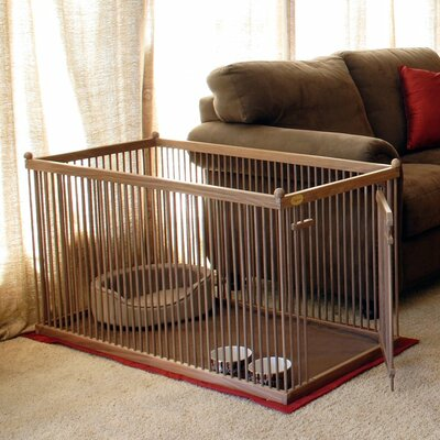 26 Walnut Short Panel Right Hinged Pet Pen Color: Dark Walnut, Hinge: Left, Panel: Short