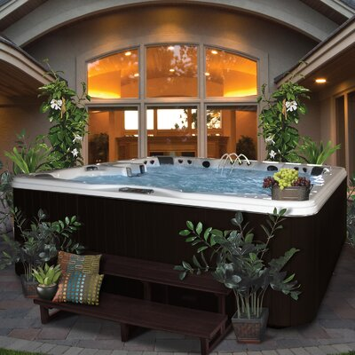 SPA, HOT TUB, JACUZZI 6 Person 56-Jet Bench Spa with Backlit LED Waterfall