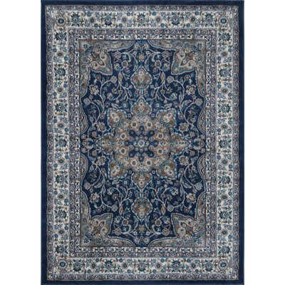 Tremont Fuller Navy Blue/Brown Area Rug Rug Size: Round 710