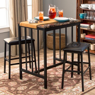 Della 3 Piece Pub Table Set
