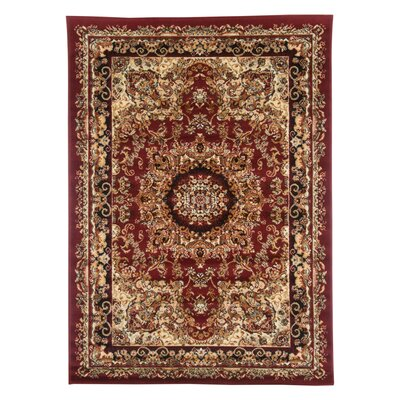 Harrison Red/Black Area Rug Rug Size: 36 x 56
