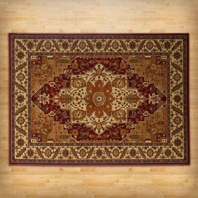 Pierce Beige/Maroon Area Rug Rug Size: Rectangle 710 x 106