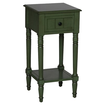 Carleton 1 Drawer End Table Color: Green
