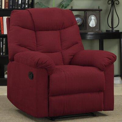 Gertrude Wall Hugger Upholstered Microfiber Recliner Upholstery: Crimson Red
