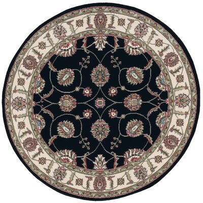 Refton Black/Gray Area Rug Rug Size: Round 53