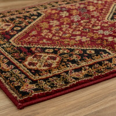 Leland Red and Black Area Rug