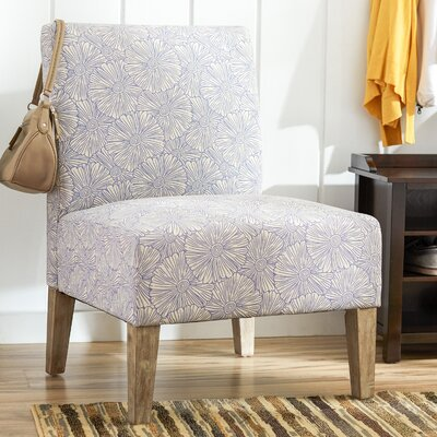 Violet Upholstered Floral Slipper Chair in Blue