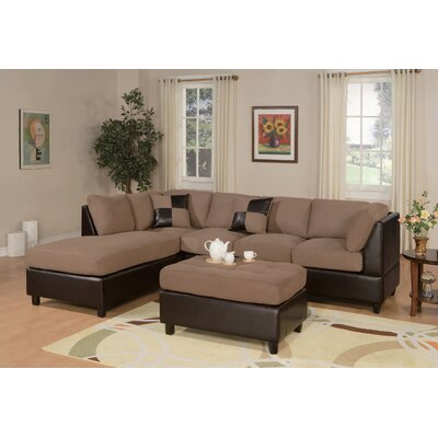 Corporate Reversible Sectional with Ottoman Upholstery: Saddle