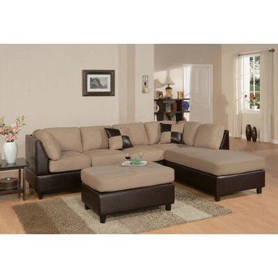 Corporate 112 Reversible Chaise Sectional Sofa Upholstery: Hazelnut