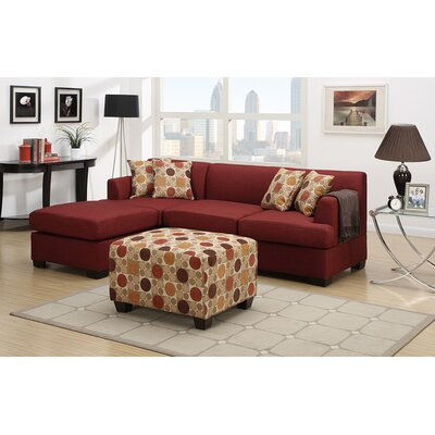 Birchview Functional Reversible Sectional Upholstery: Dark Red