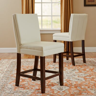 Hudson Genuine Leather Upholstered Height Dining Chair (Set of 2) Upholstery: White