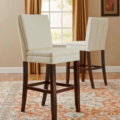 Hudson 30 Bar Stool (Set of 2) Upholstery: White