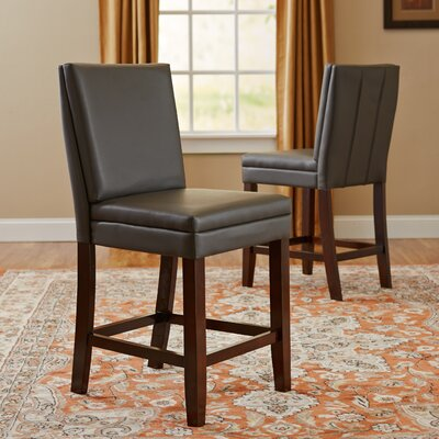 Hudson Genuine Leather Upholstered Height Dining Chair (Set of 2) Upholstery: Grey