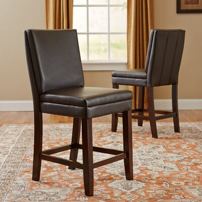 Hudson Genuine Leather Upholstered Height Dining Chair (Set of 2) Upholstery: Brown