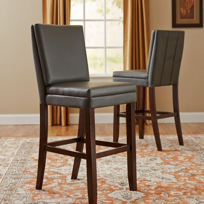 Hudson 30 Bar Stool (Set of 2) Upholstery: Grey