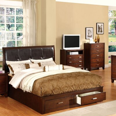 Carpino Brown/Cherry Wooden Platform Customizable Bedroom Set