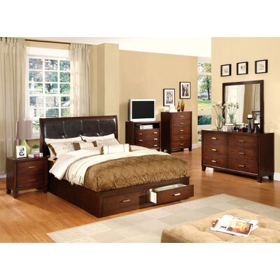 Carpino Cherry Platform Wooden Configurable Bedroom Set