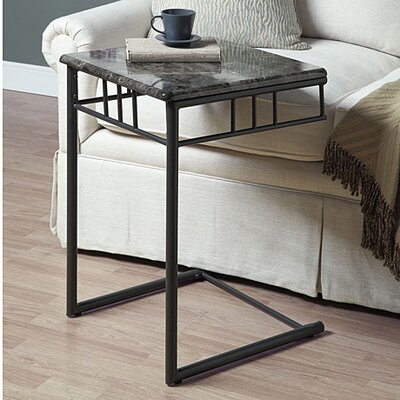 Bertram End Table Top / Base Color: Grey Marble/Charcoal
