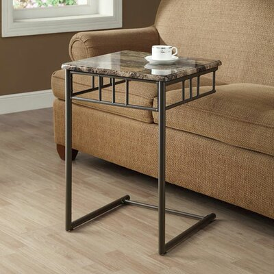 Bertram End Table Top / Base Color: Cappuccino Marble/Bronze