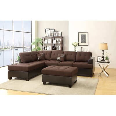 Birchview Reversible Sectional with Ottoman Upholstery: Chocolate