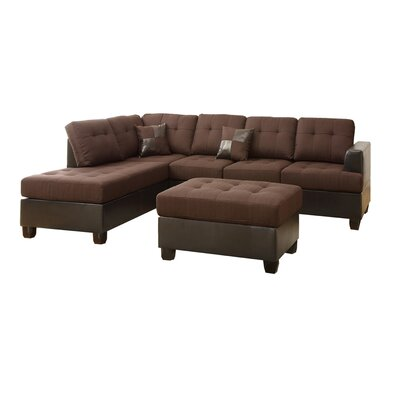 birchview reversible chaise sectional upholstery chocolate. Black Bedroom Furniture Sets. Home Design Ideas
