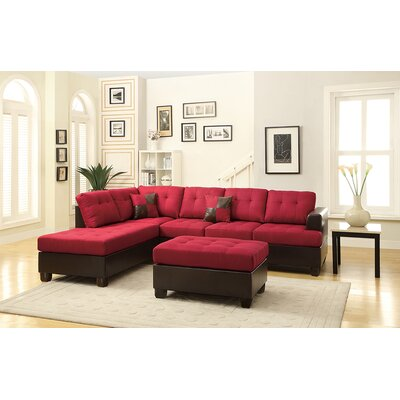 Birchview Reversible Sectional with Ottoman Upholstery: Carmine