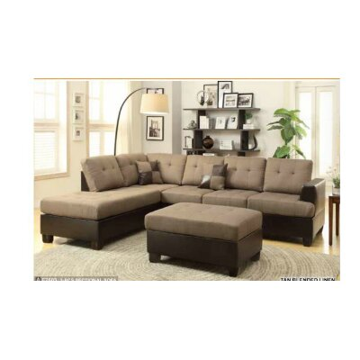 Birchview Reversible Sectional with Ottoman Upholstery: Tan