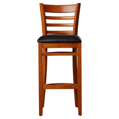 Lyman 29.5 inch Bar Stool (Set of 2) Upholstery: Black Vinyl, Frame Finish: Cherry