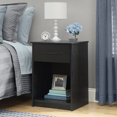 Bowdoin Hill 1 Drawer Nightstand Finish: Black Ebony Ash
