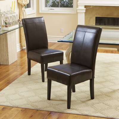 Merrin T-Stitch Upholstered Side Chair Upholstery: Leather - Chocolate Brown