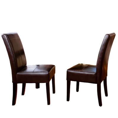 Merrin T-Stitch Genuine Leather Upholstered Dining Chair Color: Chocolate Brown