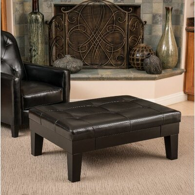 Leather Storage Ottoman Upholstery: Brown
