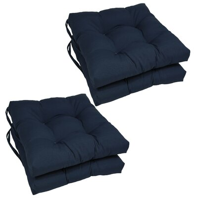 Synthetic Dining Chair Cushion (Set of 4) Color: Navy