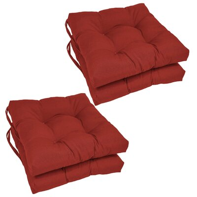 Synthetic Dining Chair Cushion (Set of 4) Color: Ruby Red