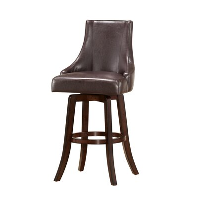 Mable 30 Swivel Bar Stool (Set of 2) Upholstery: Brown