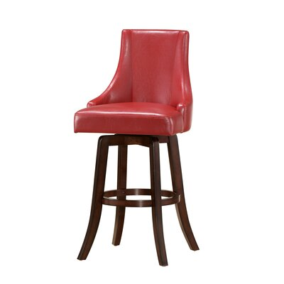 Mable 30 Swivel Bar Stool (Set of 2) Upholstery: Red