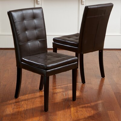 Mayme Leather Parsons Chair Upholstery: Brown