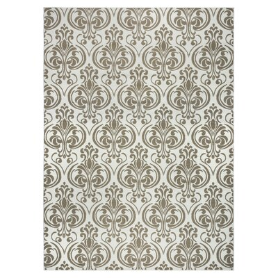 Pearl Ivory Damask Indoor/Outdoor Area Rug Rug Size: 710 x 1010