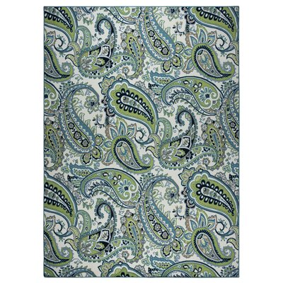 Pearl Ivory/Green Indoor/Outdoor Area Rug Rug Size: 33 x 53