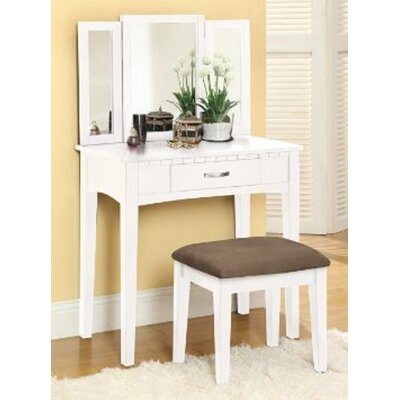 Sibilla Vanity Set with Mirror Finish: White