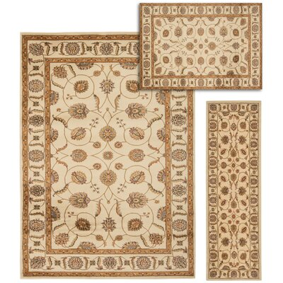 Basham 3 Piece Beige Area Rug Set