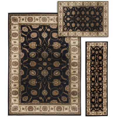 Basham 3 Piece Black/Beige Rug Set